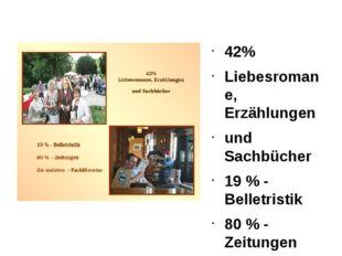 42% Liebesromane, Erzählungen und Sachbücher 19 % - Belletristik 80 % - Zeitu