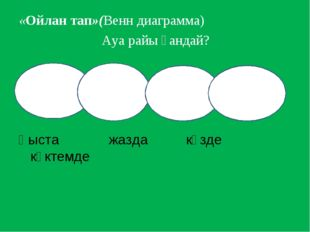 «Ойлан тап»(Венн диаграмма) Ауа райы қандай?  Қыста жазда күзде көктемде