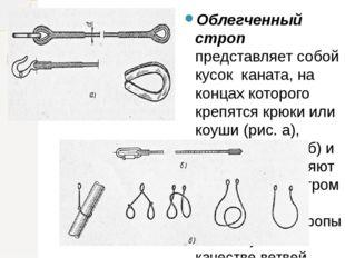 Облегченный строп представляет собой кусок каната, на концах которого крепятс