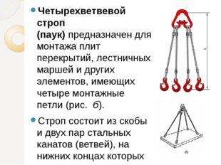 Четырехветвевой строп (паук)предназначен для монтажа плит перекрытий, лестни