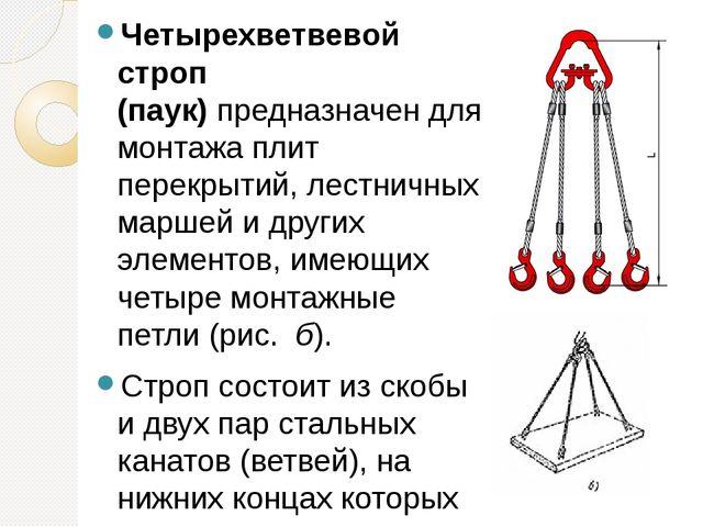Четырехветвевой строп (паук)предназначен для монтажа плит перекрытий, лестни...