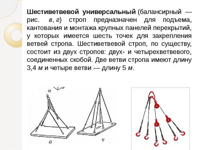 Шестиветвевой универсальный(балансирный — рис. в,г) строп предназначен для...