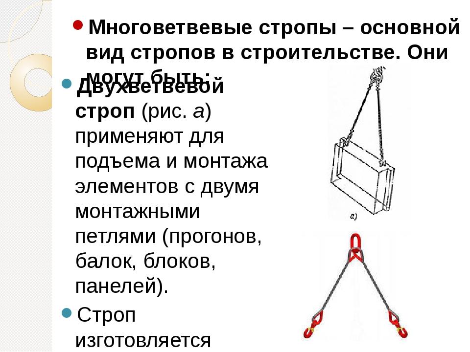 Многоветвевые стропы – основной вид стропов в строительстве. Они могут быть:...