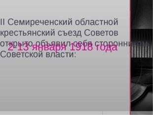 II Семиреченский областной крестьянский съезд Советов открыто объявил себя ст