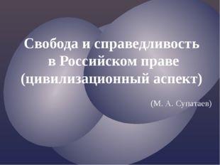 Свобода и справедливость в Российском праве (цивилизационный аспект) (М. А. С