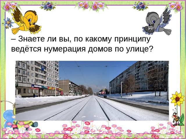 – Знаете ли вы, по какому принципу ведётся нумерация домов по улице?