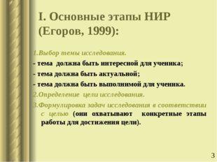 I. Основные этапы НИР (Егоров, 1999): 1.Выбор темы исследования. - тема должн