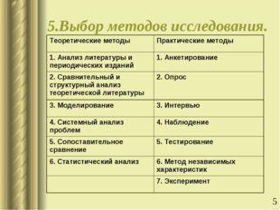 5.Выбор методов исследования. Теоретические методыПрактические методы 1. Ана