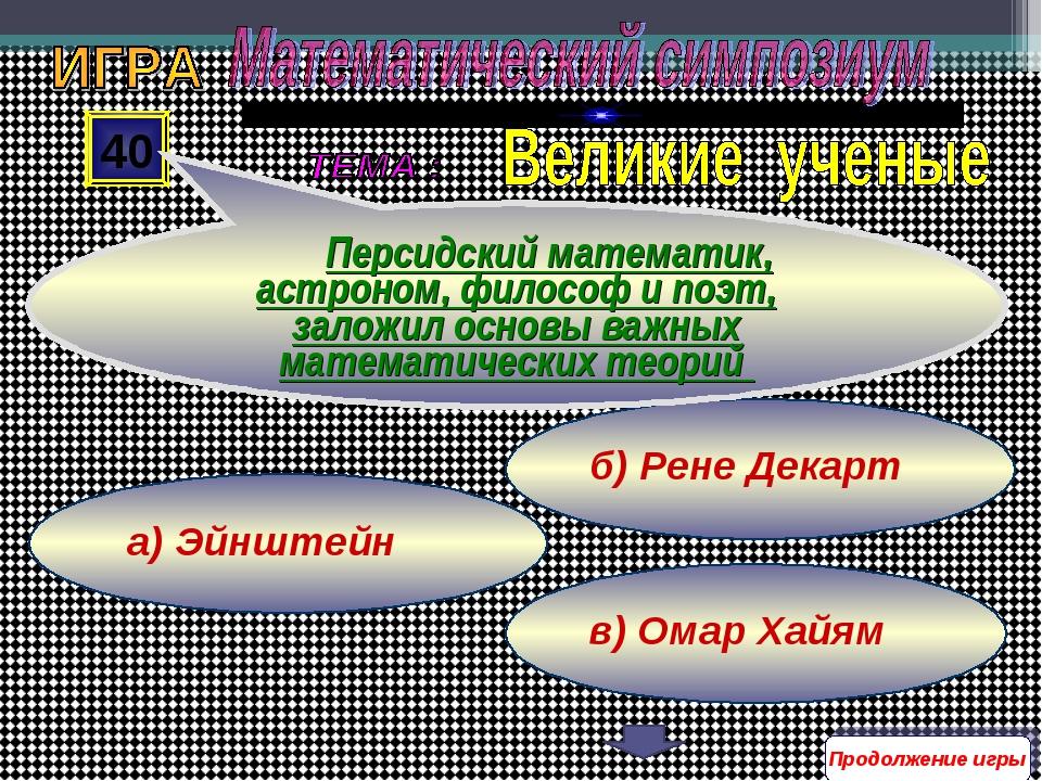 в) Омар Хайям б) Рене Декарт а) Эйнштейн 40 Персидский математик, астроном, ф...