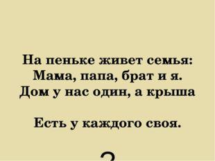 На пеньке живет семья: Мама, папа, брат и я. Дом у нас один, а крыша Есть у к