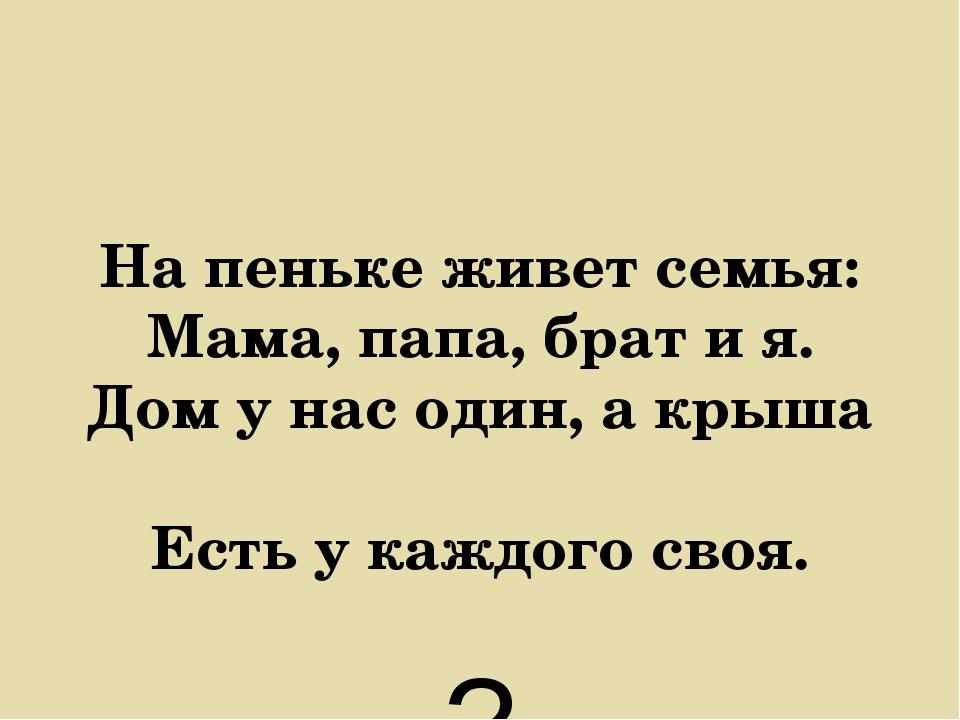 На пеньке живет семья: Мама, папа, брат и я. Дом у нас один, а крыша Есть у к...
