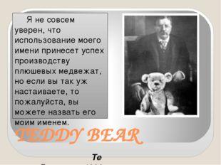 TEDDY BEAR Я не совсем уверен, что использование моего имени принесет успех п