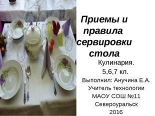 Приемы и правила сервировки стола Кулинария. 5,6,7 кл. Выполнил: Анучина Е.А.