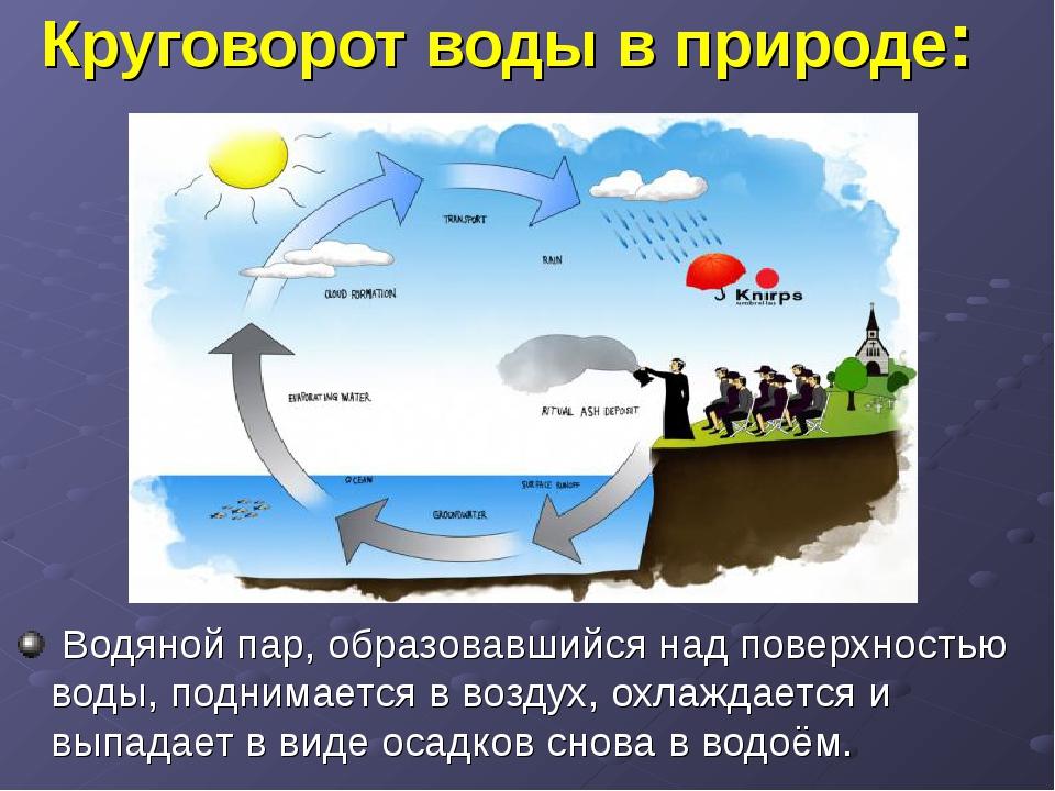 Круговорот воды в природе: Водяной пар, образовавшийся над поверхностью воды,...
