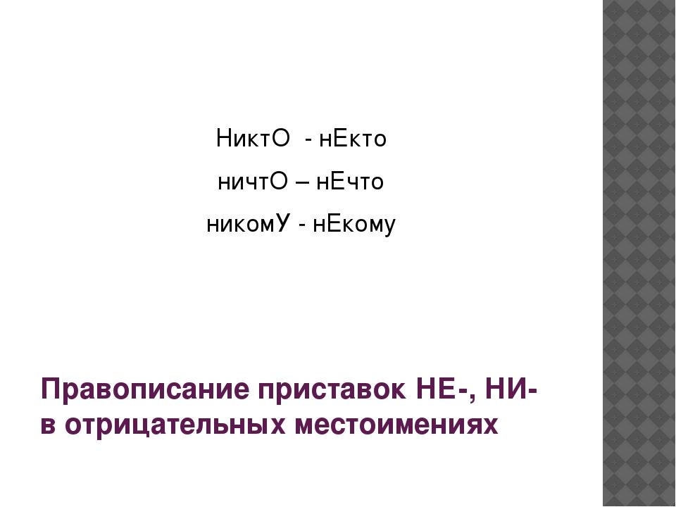 Правописание приставок НЕ-, НИ- в отрицательных местоимениях НиктО - нЕкто...