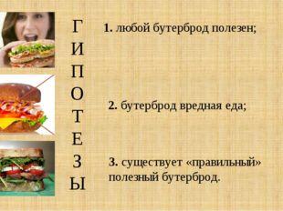 ГИПОТЕЗЫ 1. любой бутерброд полезен; 2. бутерброд вредная еда; 3. существует