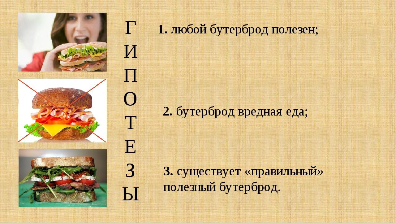 ГИПОТЕЗЫ 1. любой бутерброд полезен; 2. бутерброд вредная еда; 3. существует...
