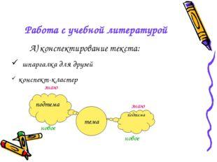 Работа с учебной литературой А) конспектирование текста: шпаргалка для друзей