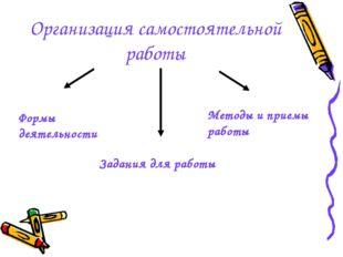 Организация самостоятельной работы Формы деятельности Задания для работы Мето