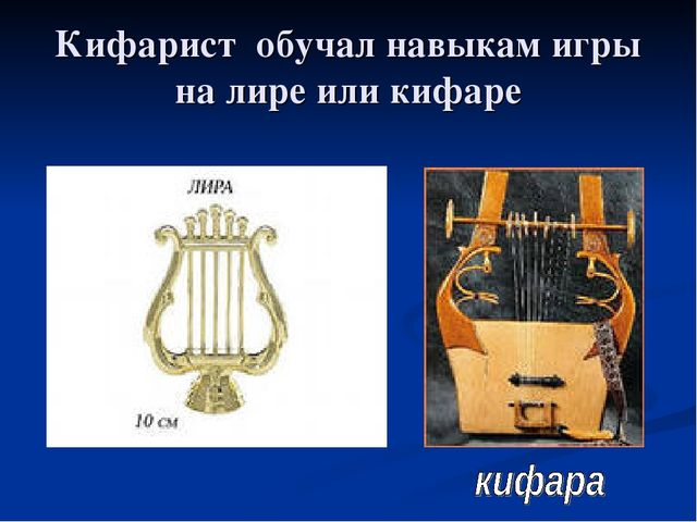 Кифарист обучал навыкам игры на лире или кифаре