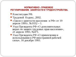 Конституция РФ. Трудовой Кодекс, 2002. «Закон о занятости населения в РФ» от