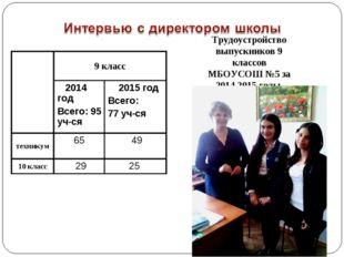 Трудоустройство выпускников 9 классов МБОУСОШ №5 за 2014,2015 годы 9 класс