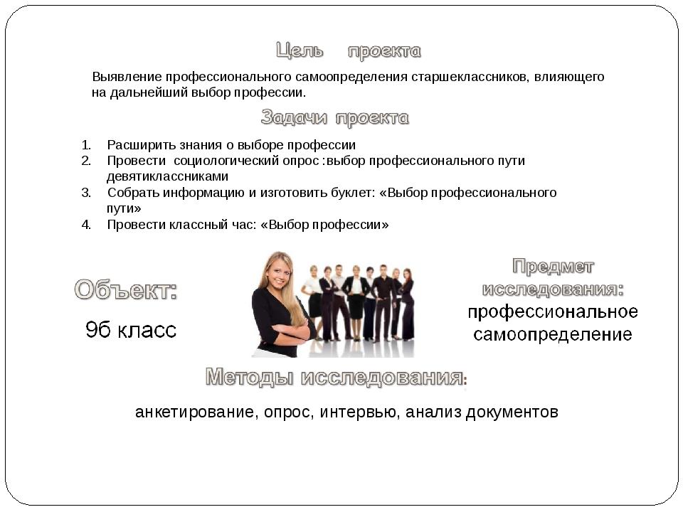 анкетирование, опрос, интервью, анализ документов Выявление профессиональног...