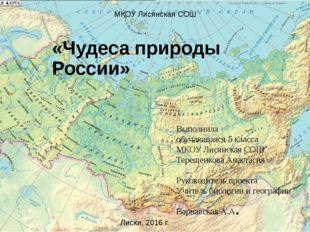 «Чудеса природы России» Выполнила обучающаяся 5 класса МКОУ Лисянская СОШ Тер
