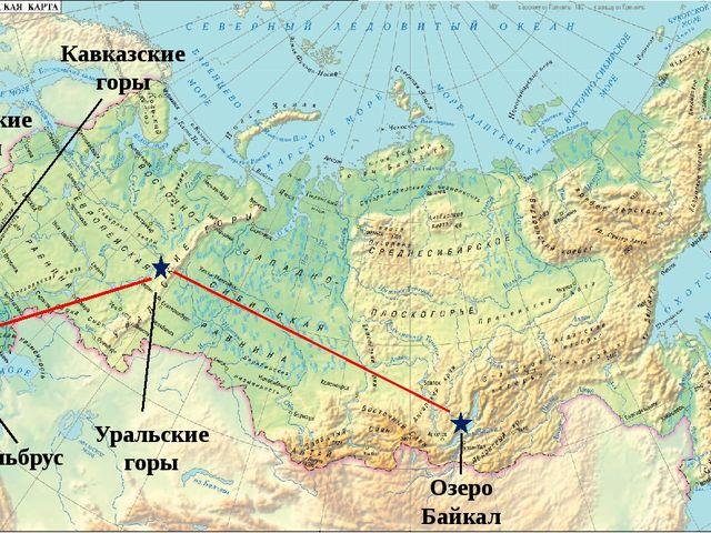Крымские горы Кавказские горы Эльбрус Уральские горы Озеро Байкал