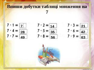 Впиши добутки таблиці множення на 7 7 28 49 14 35 56 21 42 63