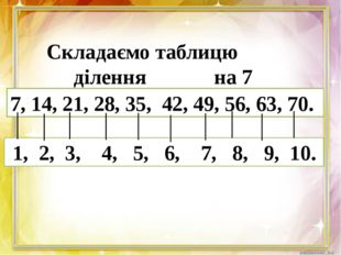 Складаємо таблицю ділення на 7 7, 14, 21, 28, 35, 42, 49, 56, 63, 70. 1, 2,