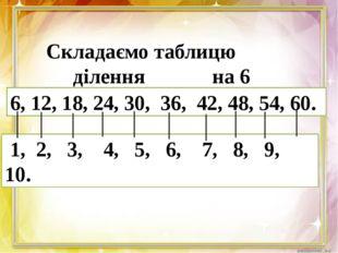 Складаємо таблицю ділення на 6 6, 12, 18, 24, 30, 36, 42, 48, 54, 60. 1, 2,