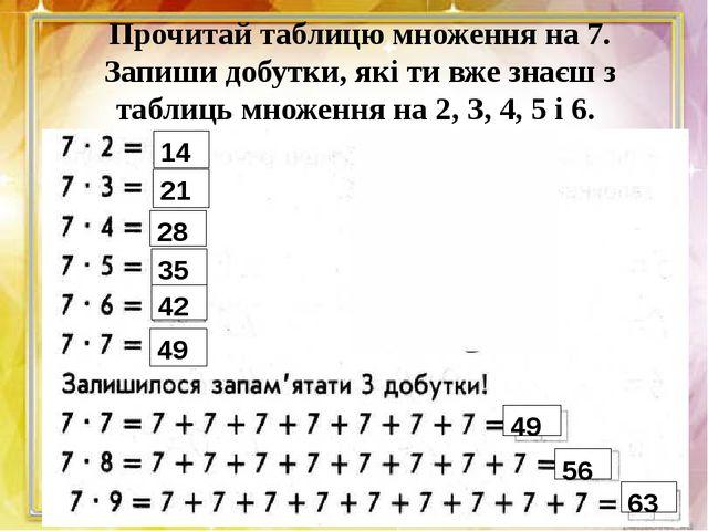 Прочитай таблицю множення на 7. Запиши добутки, які ти вже знаєш з таблиць мн...