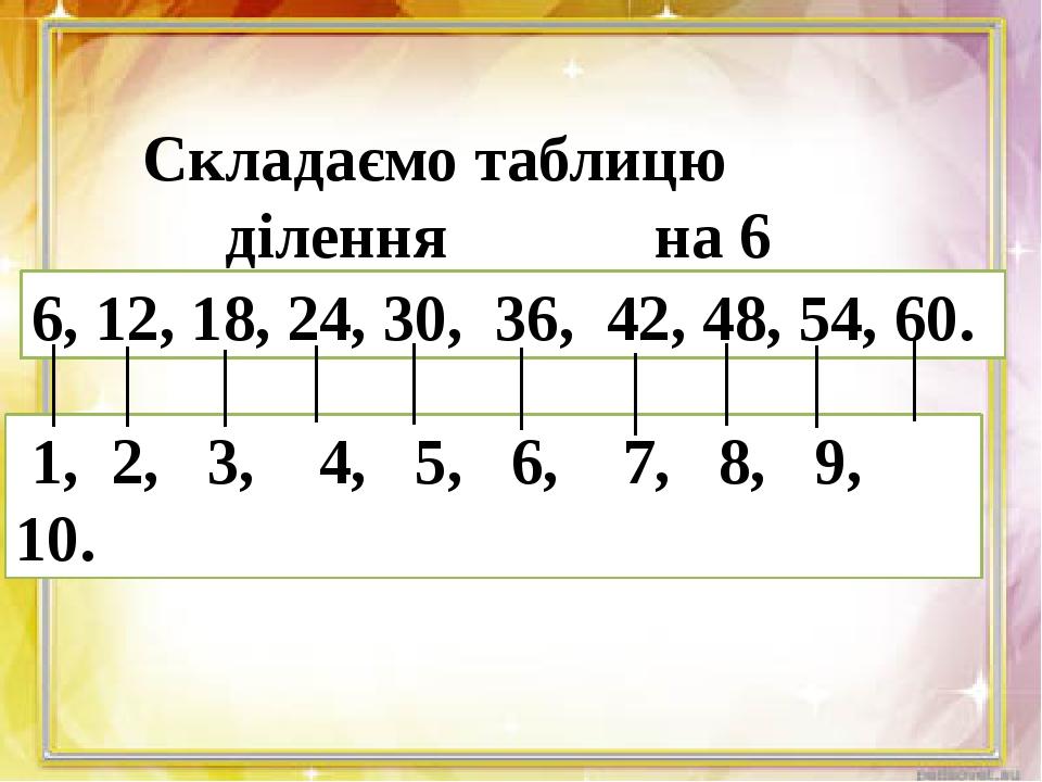 Складаємо таблицю ділення на 6 6, 12, 18, 24, 30, 36, 42, 48, 54, 60. 1, 2,...