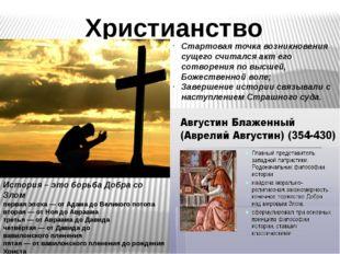 Христианство Стартовая точка возникновения сущего считался акт его сотворения