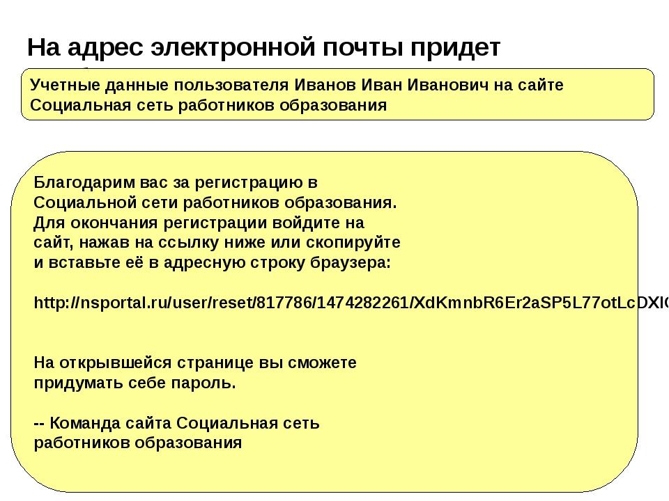 На адрес электронной почты придет сообщение : Учетные данные пользователя Ива...
