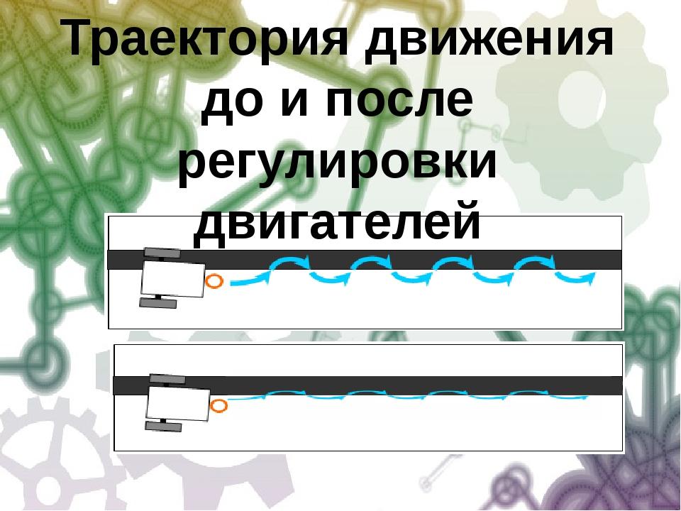 Траектория движения до и после регулировки двигателей Траектория движения до...