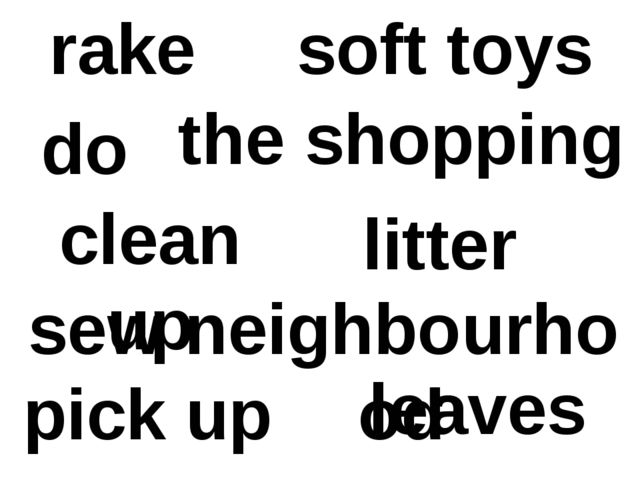 rake leaves sew soft toys clean up neighbourhood do the shopping pick up litter