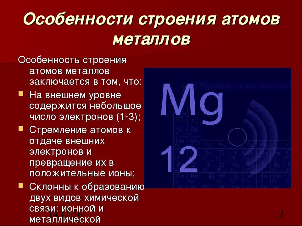 Особенности строения атомов металлов Особенность строения атомов металлов зак...