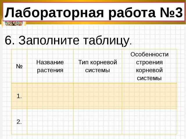 Лабораторная работа №3 6. Заполните таблицу. № Название растения Тип корневой...