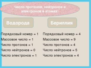 Порядковый номер = 4 Массовое число = 9 Число протонов = 4 Число нейтронов =