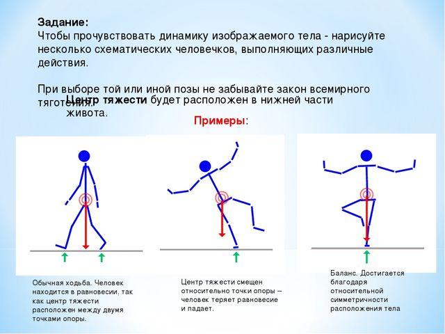 Задание: Чтобы прочувствовать динамику изображаемого тела - нарисуйте нескол...