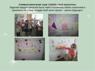 Коммуникативная игра «Найди свой кирпичик» Задачей каждого ребенка было найти