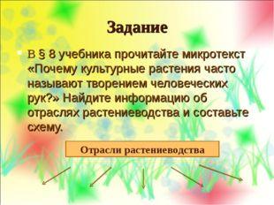 Задание В § 8 учебника прочитайте микротекст «Почему культурные растения част