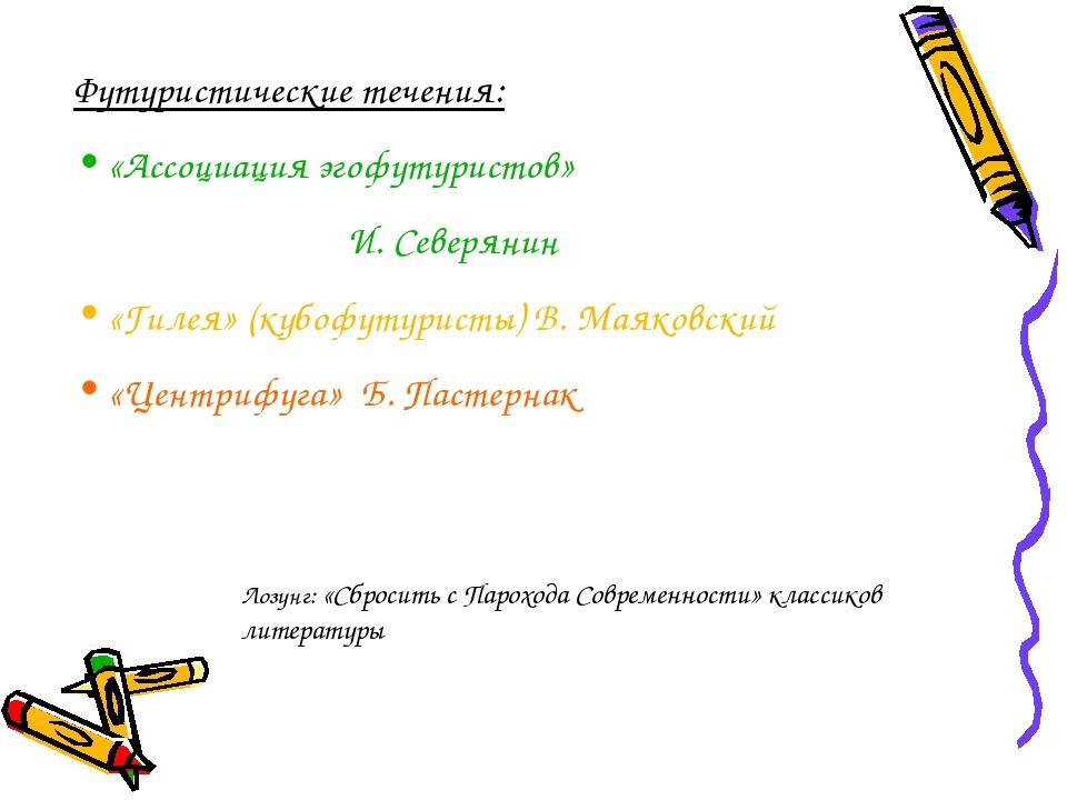 Футуристические течения: «Ассоциация эгофутуристов» И. Северянин «Гилея» (куб...