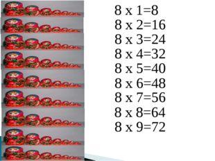 8 х 1=8 8 х 2=16 8 х 3=24 8 х 4=32 8 х 5=40 8 х 6=48 8 х 7=56 8 х 8=64 8 х 9=72
