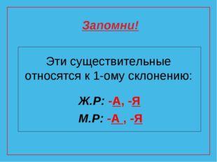 Эти существительные относятся к 1-ому склонению: Ж.Р: -А, -Я М.Р: -А , -Я Зап