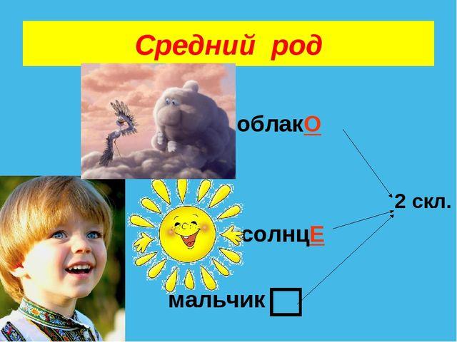 Средний род облакО солнцЕ 2 скл. мальчик