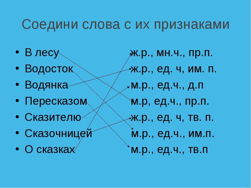 Соедини слова с их признаками В лесу ж.р., мн.ч., пр.п. Водосток ж.р., ед....