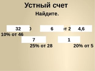 Устный счет 8% от400 30% от 20 10% от 46 25% от 28 20% от 5 32 6 4,6 7 1 Найд